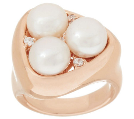 Honora Cultured Pearl 8.0mm Bronze Cluster Ring