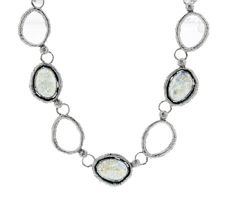 Or Paz Sterling Roman Glass Station Necklace