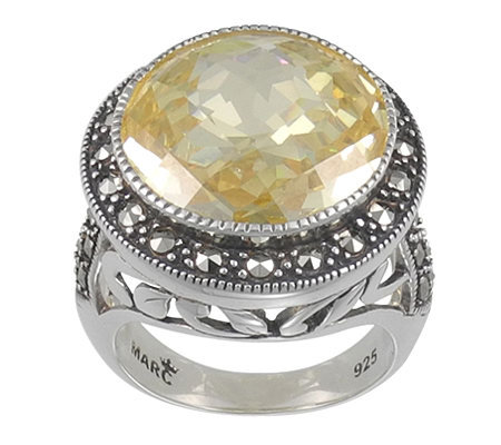 Suspicion Sterling Marcasite & Simulated Canary Diamond Ring