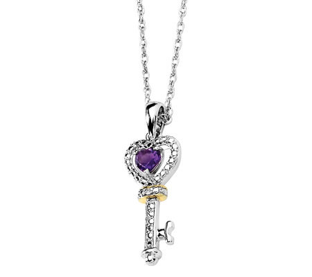 "Sterling Amethyst Key Pendant with 17"" Chain"