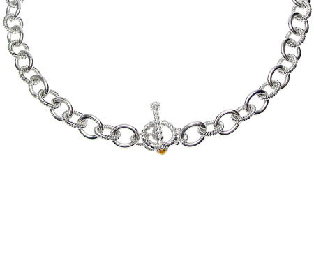 "Judith Ripka ""Astor"" Sterling 18"" Citrine ChainNecklace"