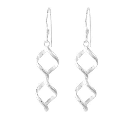 Sterling Polished Twisted Coil Dangle Earrings