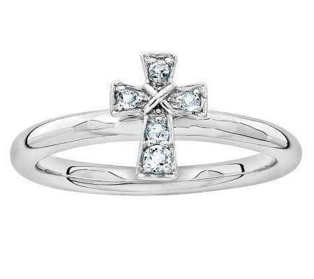 Simply Stacks Sterling Birthstone Cross Ring