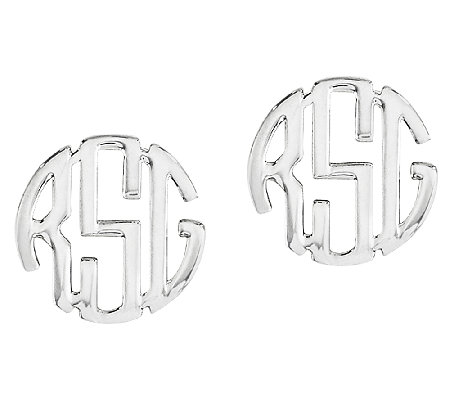 "Sterling Polished 1/4"" Circle Block Monogram Stud Earrings"