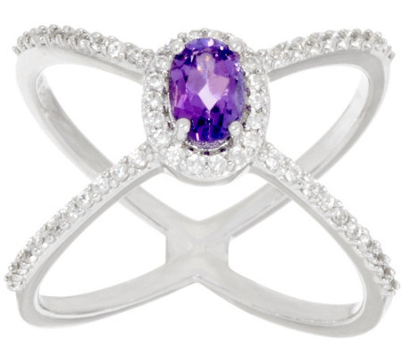 """As Is"" Graziela Gems Gemstone & Zircon X-Design Sterling Ring"