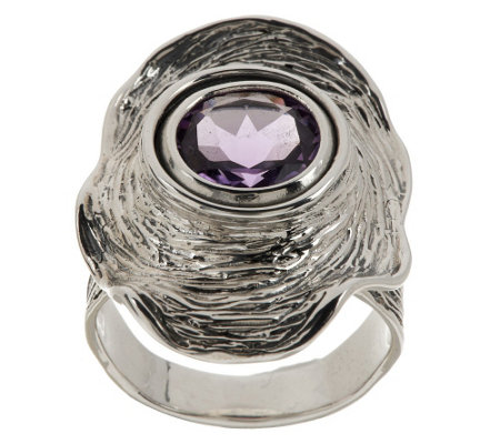 """As Is"" Hagit Sterling Vibes 2.50 cts Amethyst Ring"
