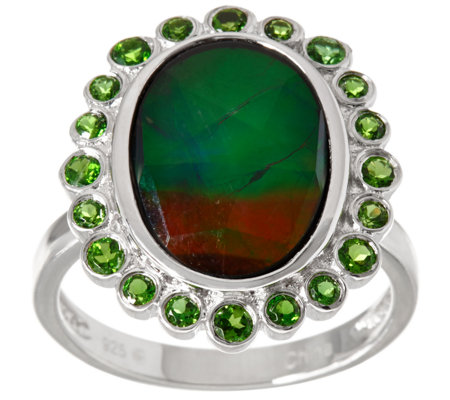 Oval Ammolite Triplet & Chrome Diopside Sterling Silver Ring, 0.50 cttw