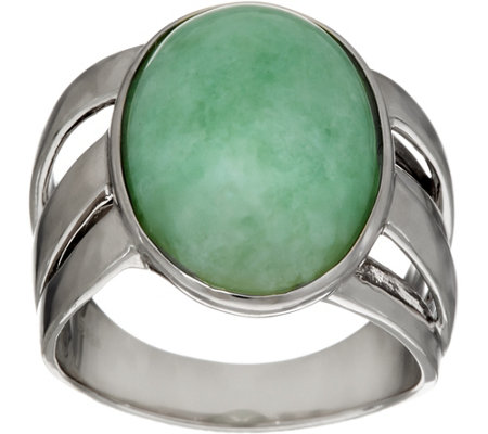 Jade Oval Sterling Silver Bold Ring