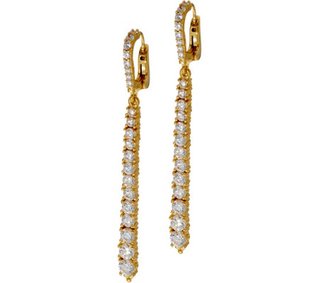 Judith Ripka Sterling or 14K Clad Graduated Diamonique Line Earrings