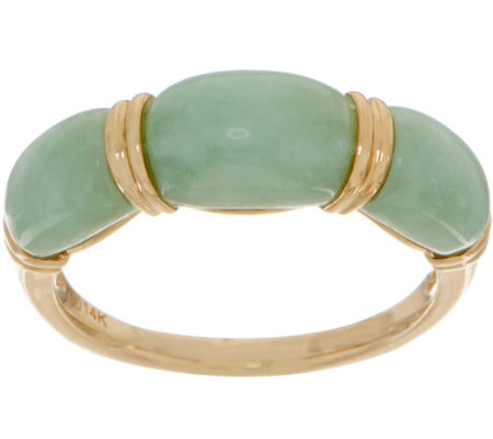 Carved Jade Band Ring 14K Gold