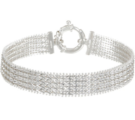 "Imperial Silver 6-3/4"" Wide Wheat Bracelet, Sterling 15.8g"