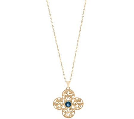 Adi Paz Gemstone Accent Filigree Pendant With Chain 14k