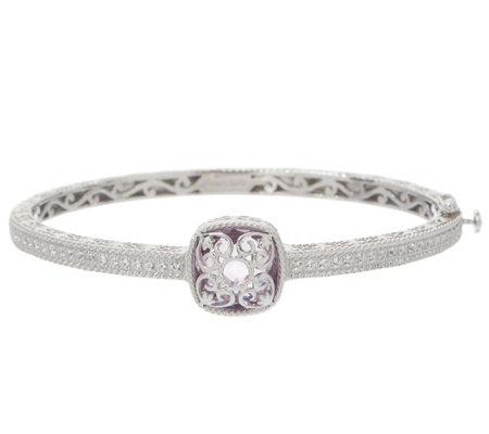 DeLatori Sterling Silver Rose de France Cushion Cut Bangle, 6.30ctw