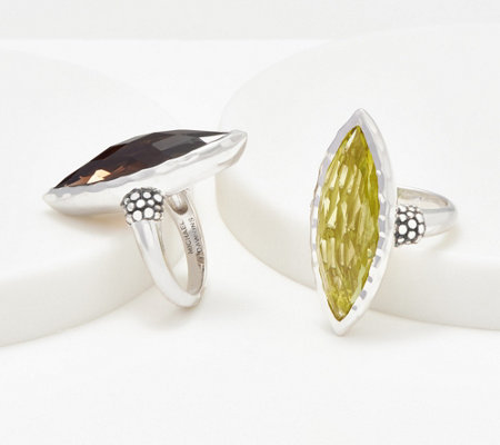 Michael Dawkins Sterling Silver Gemstone Marquise Ring