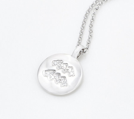Diamonique Zodiac Pendant by Alex Woo for Charmbar, Sterling