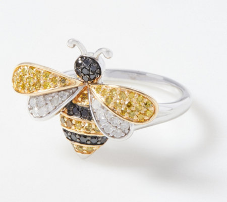 Affinity Sterling Silver & 14K Gold Diamond Bee Ring, 1/2 cttw