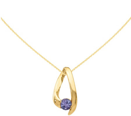"14K Inverted V Gemstone Pendant w/18"" Chain"