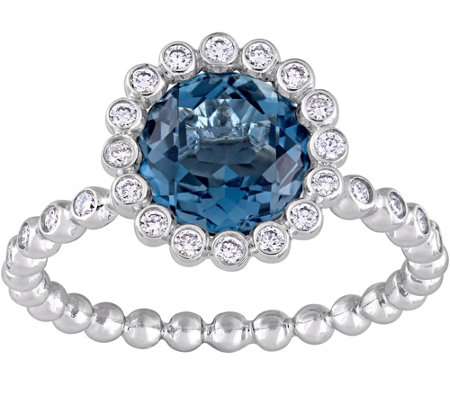 14K 2.25 ct London Blue Topaz & 1/5 cttw Diamond Ring