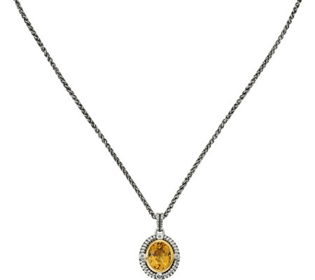 "Sterling & 14K Citrine & Diamond Pendant with 18"" Chain"