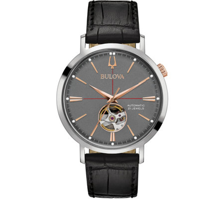 Bulova Men's Classic Automatic Watch, Black Leather Strap