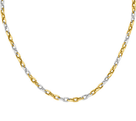 14K Gold Two-Tone Curb Link Necklace, 11.6g