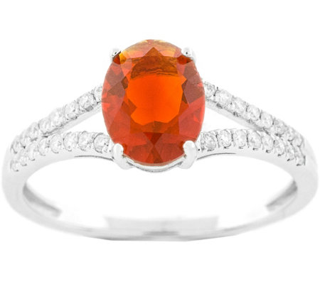 14K 0.70 ct Fire Opal and Diamond Ring