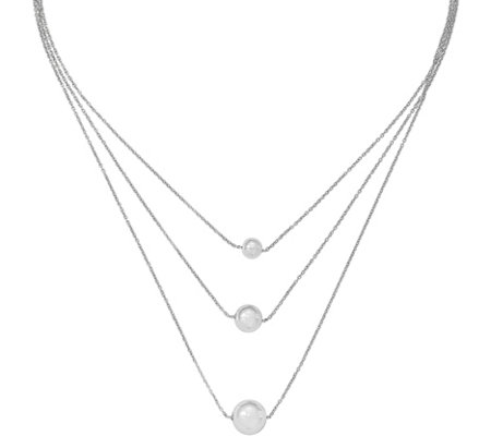 Sterling 3-Strand Bead Necklace by Silver Style