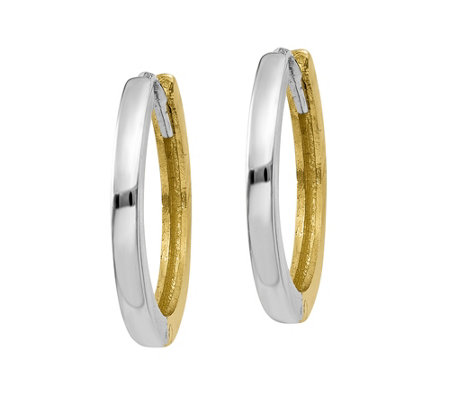14K Gold Two-Tone Hinged Hoop Earrings