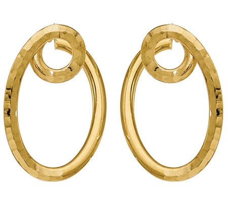 "Italian Gold 1-1/4"" Twisted Hoop Earrings 14K,3.2g"