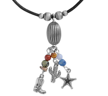 American West Sterling Multi Beaded Charm Tassel Necklace