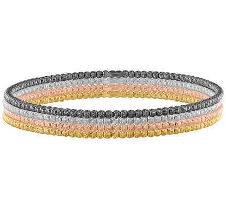 Sterling Silver Multi-Color Bangle Set, 17.1g