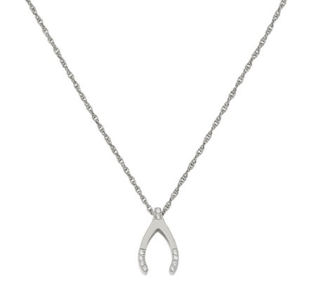 Stainless Steel Crystal Wishbone Necklace