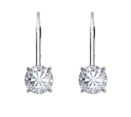 Diamonique Sterling 1 00 Cttw Round Lever Backearrings