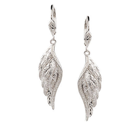 Angel Wing Diamond Earring Sterling 1 8 Cttw By Affinity