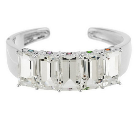 """As Is"" 41.00ct tw Faceted Quartz Sterling Cuff"