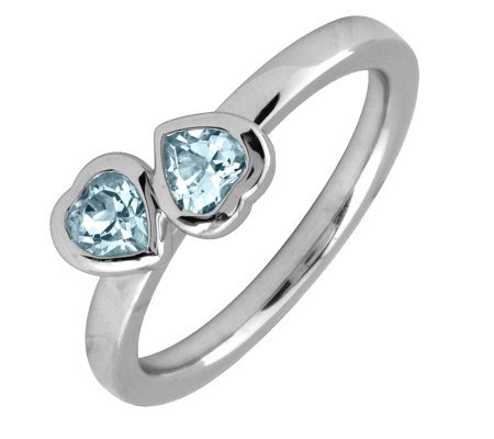 Simply Stacks Sterling & Aquamarine Double-Heart Ring
