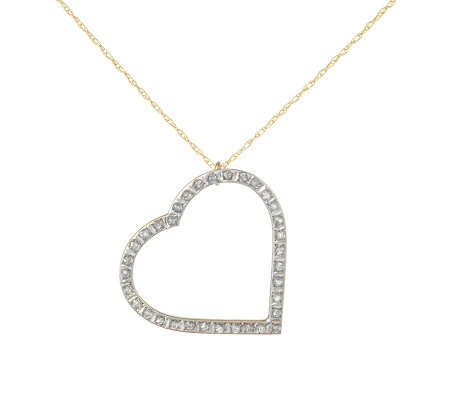 Diamond Fascination Heart Pendant with Chain, 14K Yellow Gold
