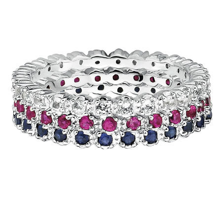 Simply Stacks Sterling White Topaz, Ruby, & Sapphire Ring Set