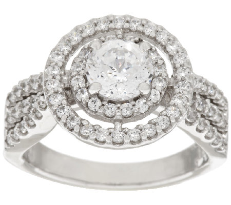 Diamonique 100-Facet Double Halo Ring, Platinum Clad