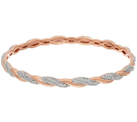 Bronze Crystal Polished & Twisted Bangle by Bronzo Italia