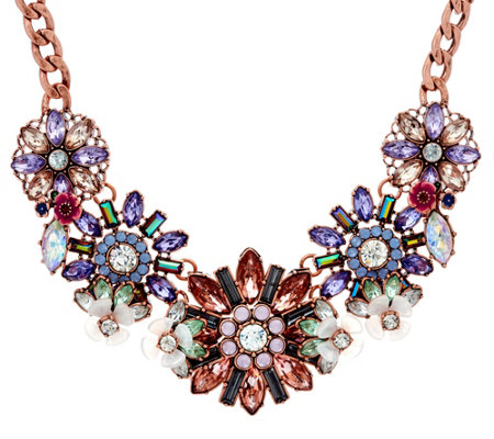 Joan Rivers Pastel Crystal Blossoms Statement Necklace