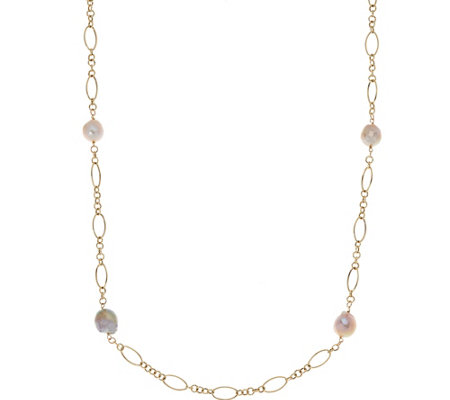 "Honora Ming Cultured Pearl 36"" Multi-link Necklace 14K Gold, 6.5g"