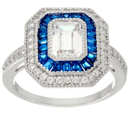 Diamonique and Simulated Sapphire Deco Ring, Sterling