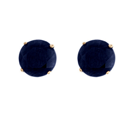5mm Round Precious Gemstone Stud Earrings, 14KYellow Gold