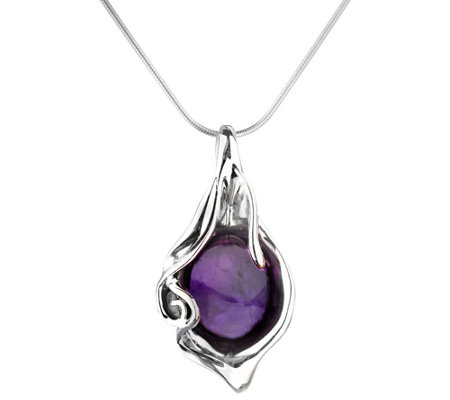 Hagit Sterling & Gemstone Pendant with Chain
