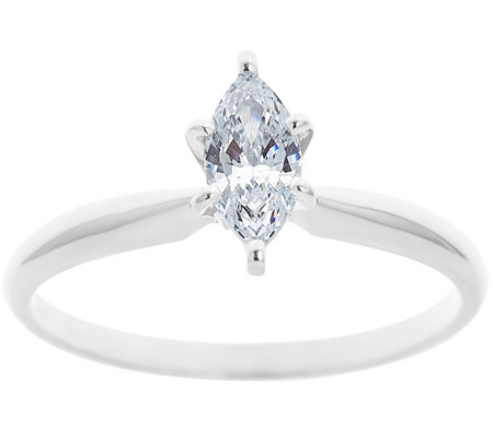 Solitaire Diamond Ring, 14K White Gold 1/2 cttw , by Affinity