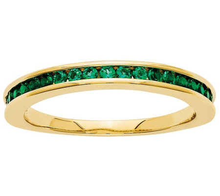 Channel Set Gemstone Band Ring, 14K Yellow Gold