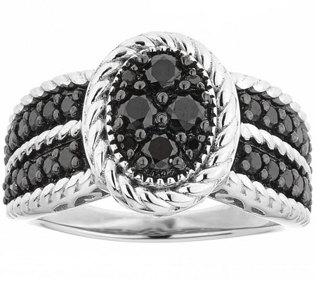 Black Diamond Cluster Ring, Sterling, 1.00 cttw, by Affinity