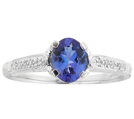 14k White Gold 0 75 Ct Tanzanite Diamond Accent Ring