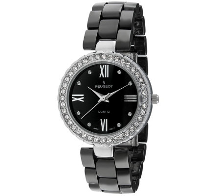 Peugeot Women's Silvertone Black Ceramic Watch